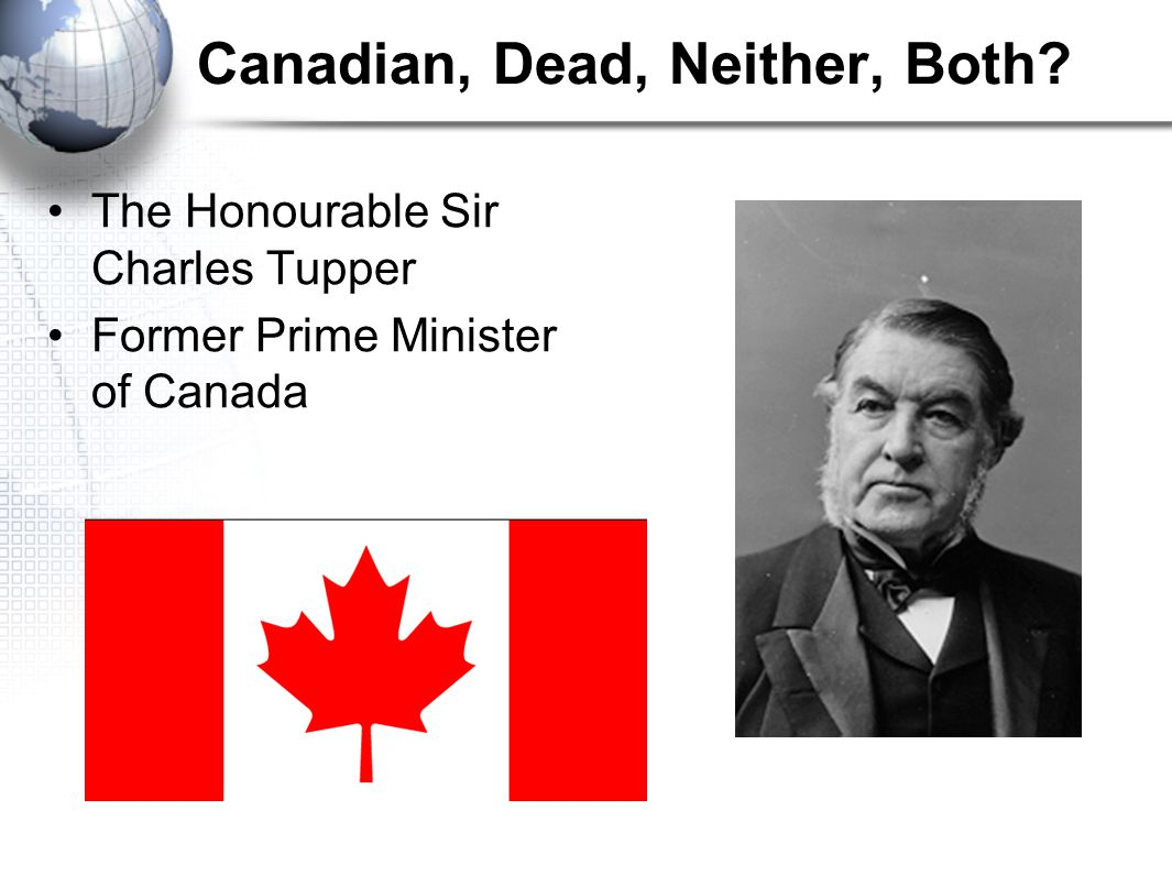 Canadian, Dead, Neither, Both The Honourable Sir Charles Tupper Former Prime Minister of Canada