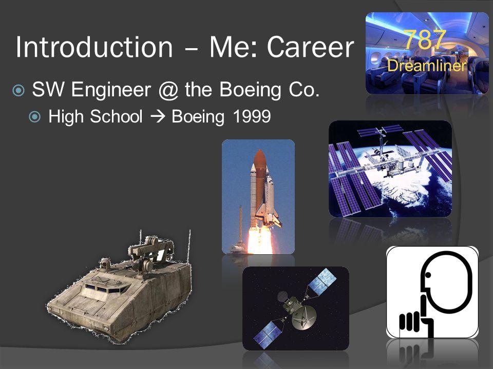 Introduction – Me: Career  SW Engineer @ the Boeing Co.  High School  Boeing 1999 787 Dreamliner