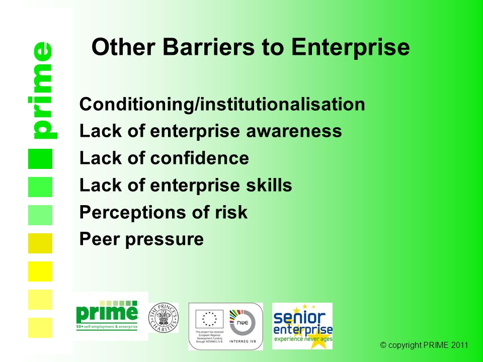 © copyright PRIME 2011 prime Other Barriers to Enterprise Conditioning/institutionalisation Lack of enterprise awareness Lack of confidence Lack of enterprise skills Perceptions of risk Peer pressure