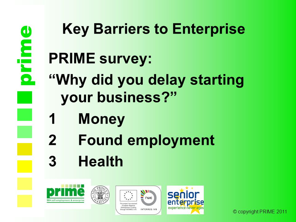© copyright PRIME 2011 prime Key Barriers to Enterprise PRIME survey: Why did you delay starting your business 1Money 2Found employment 3Health