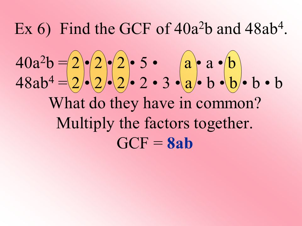 Ex 6) Find the GCF of 40a 2 b and 48ab 4.