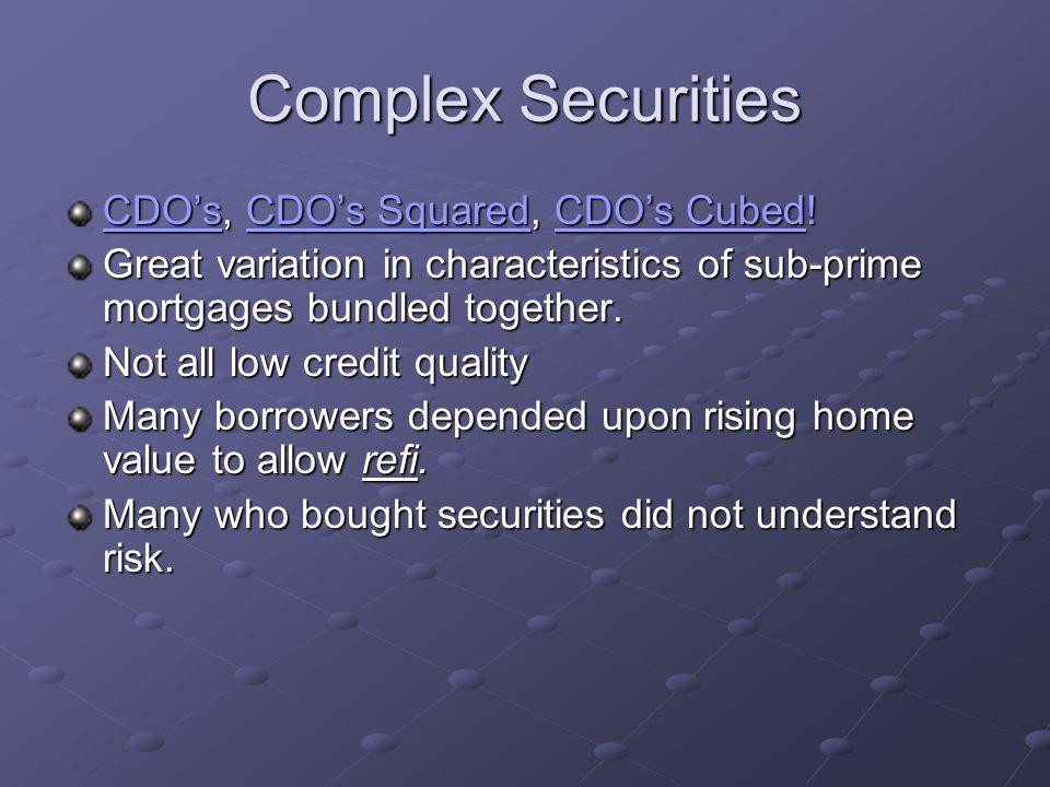 Complex Securities CDOCDO's, CDO's Squared, CDO's Cubed.