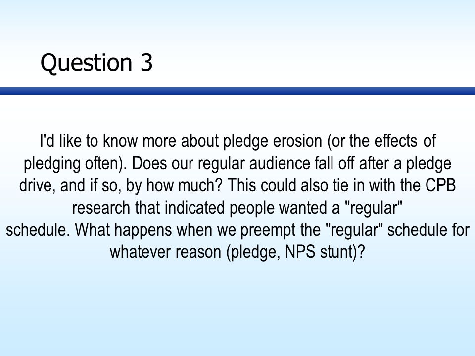 Question 3 I d like to know more about pledge erosion (or the effects of pledging often).