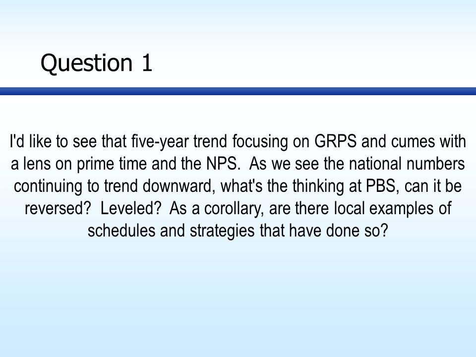 Question 1 I d like to see that five-year trend focusing on GRPS and cumes with a lens on prime time and the NPS.