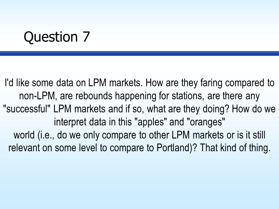 Question 7 I d like some data on LPM markets.