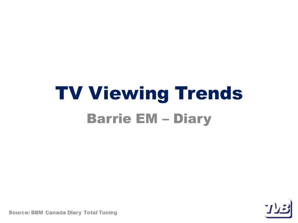 TV Viewing Trends Barrie EM – Diary Source: BBM Canada Diary Total Tuning
