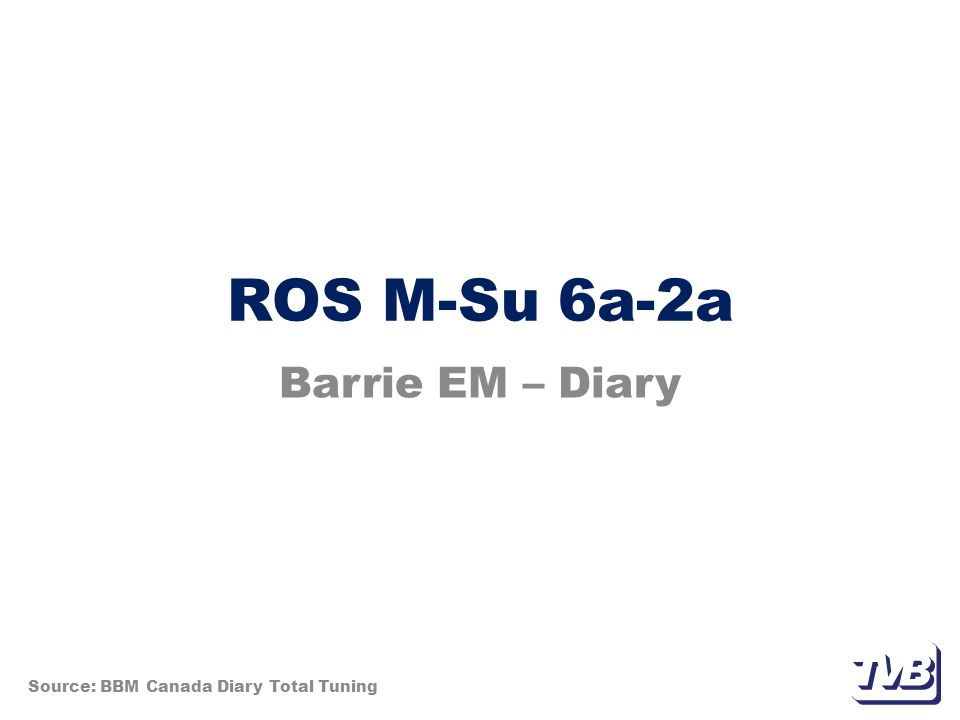 ROS M-Su 6a-2a Barrie EM – Diary Source: BBM Canada Diary Total Tuning