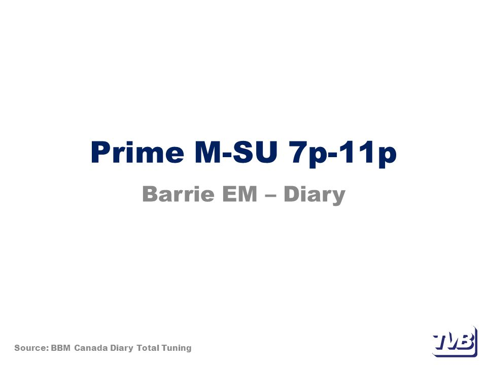 Prime M-SU 7p-11p Barrie EM – Diary Source: BBM Canada Diary Total Tuning