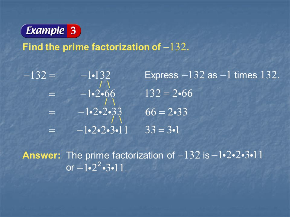 Example 1-3a Find the prime factorization of –132.