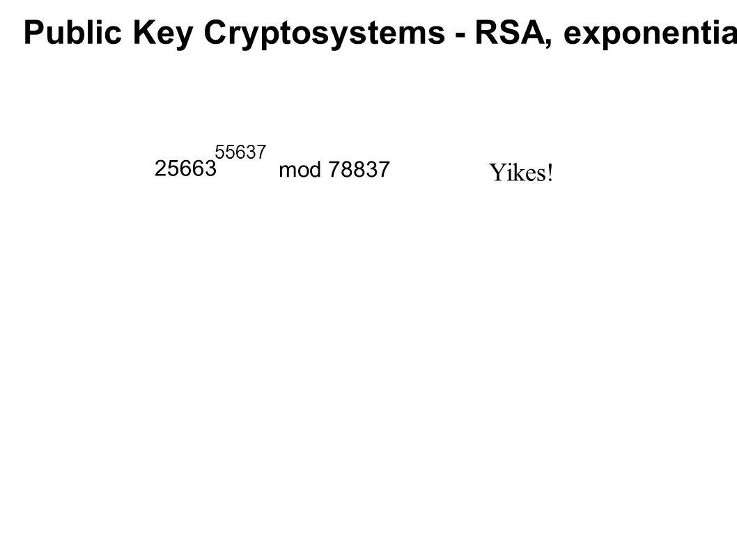 Public Key Cryptosystems - RSA, exponentiating 25663 55637 mod 78837 Yikes!