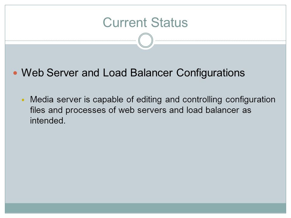 Current Status Web Server and Load Balancer Configurations Media server is capable of editing and controlling configuration files and processes of web servers and load balancer as intended.