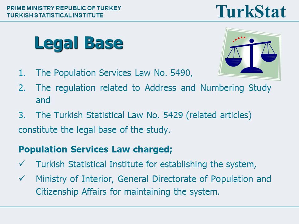PRIME MINISTRY REPUBLIC OF TURKEY TURKISH STATISTICAL INSTITUTE TurkStat Legal Base 1.The Population Services Law No.