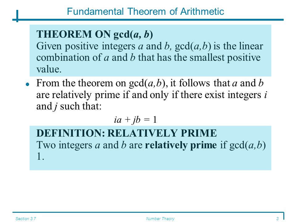 Section 3.7Number Theory4 Fundamental Theorem of Arithmetic THEOREM ON DIVISION BY PRIME NUMBERS Let p be a prime number such that p  ab, where a and b are integers.