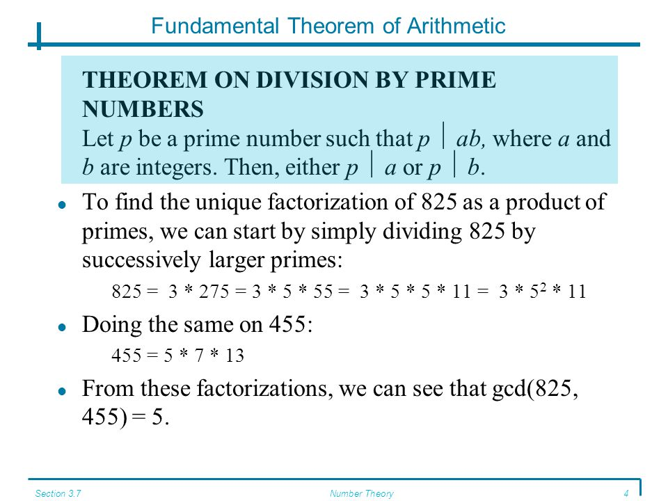 Section 3.7Number Theory4 Fundamental Theorem of Arithmetic THEOREM ON DIVISION BY PRIME NUMBERS Let p be a prime number such that p  ab, where a and