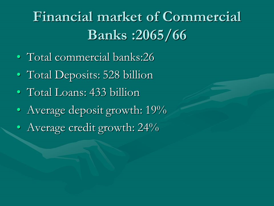 Financial market of Commercial Banks :2065/66 Total commercial banks:26Total commercial banks:26 Total Deposits: 528 billionTotal Deposits: 528 billion Total Loans: 433 billionTotal Loans: 433 billion Average deposit growth: 19%Average deposit growth: 19% Average credit growth: 24%Average credit growth: 24%