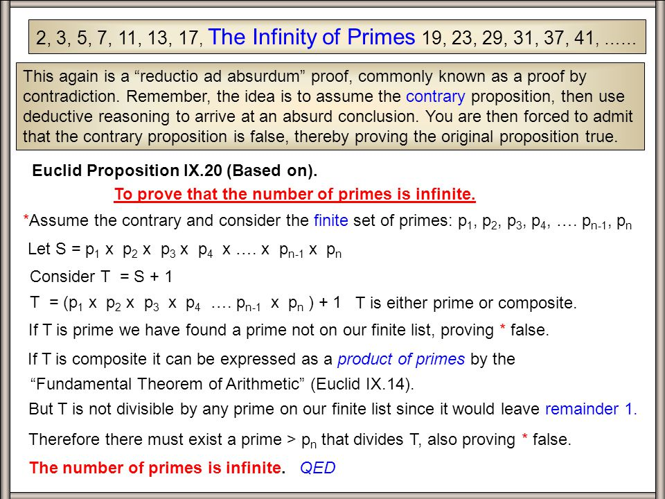 2, 3, 5, 7, 11, 13, 17, The Infinity of Primes 19, 23, 29, 31, 37, 41, …… This again is a reductio ad absurdum proof, commonly known as a proof by contradiction.