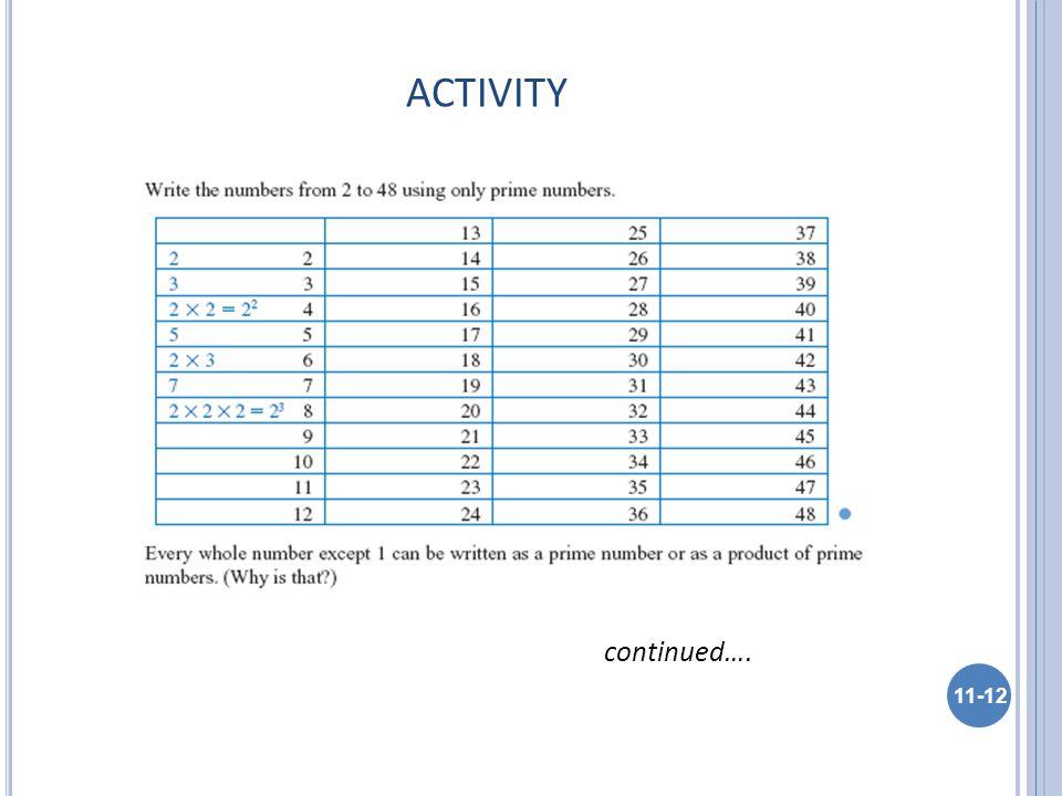 ACTIVITY 11-12 continued….