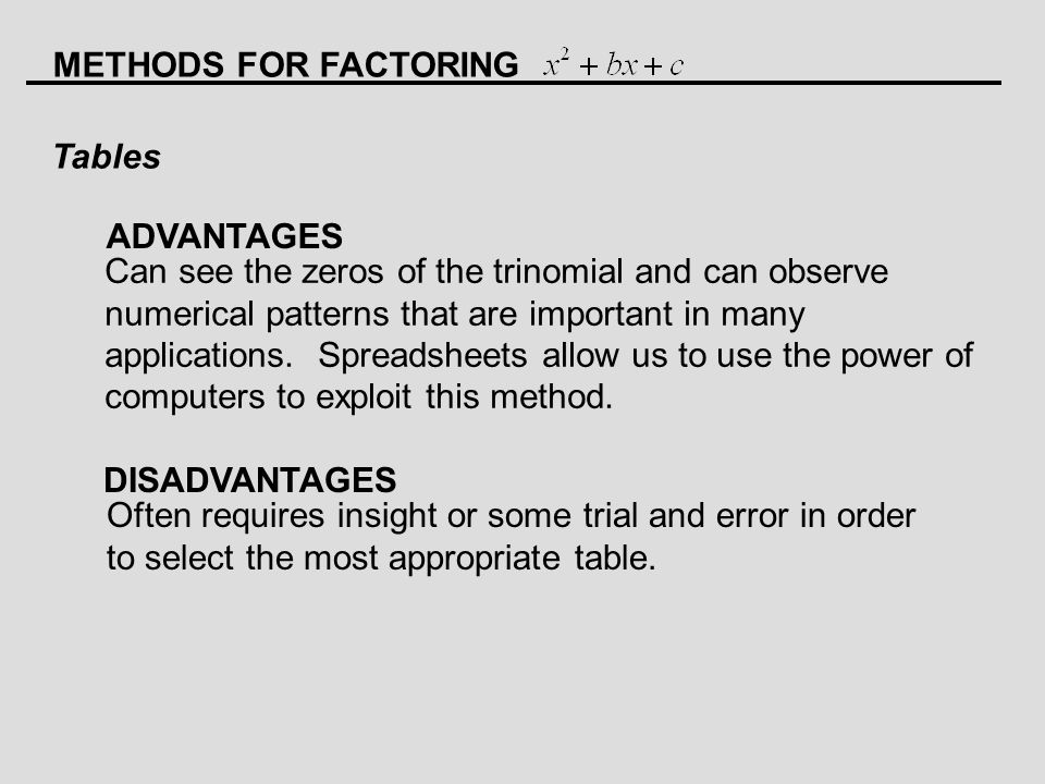 METHODS FOR FACTORING Tables ADVANTAGES DISADVANTAGES Can see the zeros of the trinomial and can observe numerical patterns that are important in many applications.