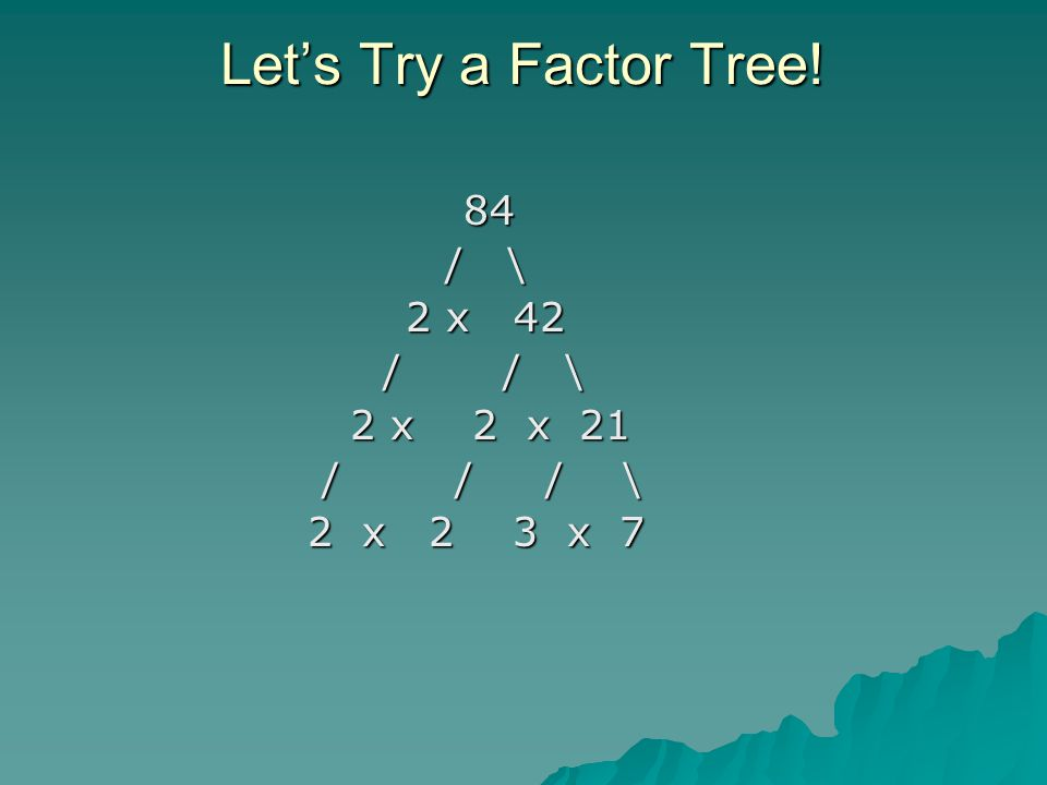 Let's Try a Factor Tree.