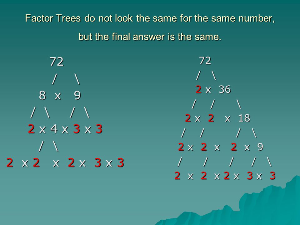 Factor Trees do not look the same for the same number, but the final answer is the same. 72 72 / \ / \ 8 x 9 8 x 9 / \ / \ / \ / \ 2 x 4 x 3 x 3 2 x 4
