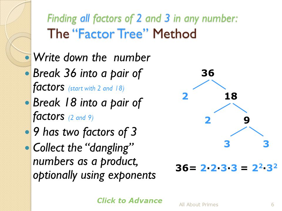 Finding all factors of 2, 3 and 5 in a number: The Factor Tree Method Write down the number Break 150 into a pair of factors (start with 2 and 75) Break 75 into a pair of factors (3 and 25) 25 has two factors of 5 Collect the dangling numbers as a product All About Primes7 150 2 75 3 25 5 5 150 = 2∙3∙5∙5 Click to Advance