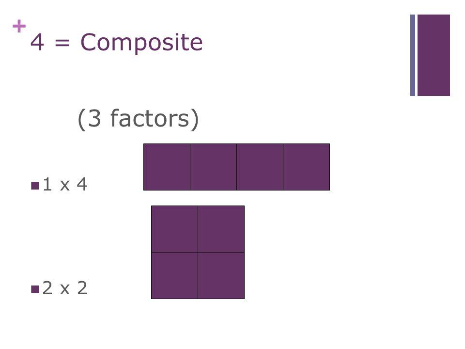 + 3 = Prime 1 x 3(2 factors)