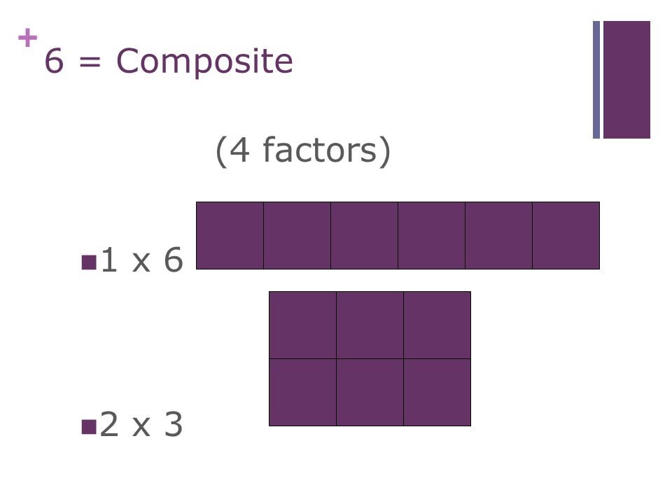 + 5 = Prime 1 x 5(2 factors)