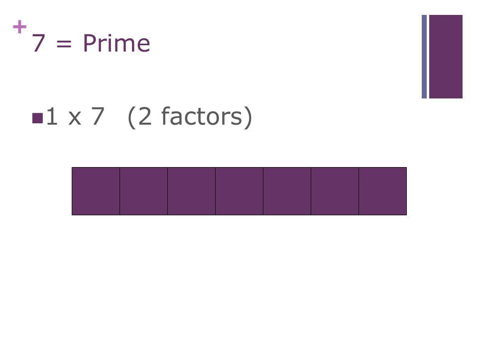 + 6 = Composite (4 factors) 1 x 6 2 x 3