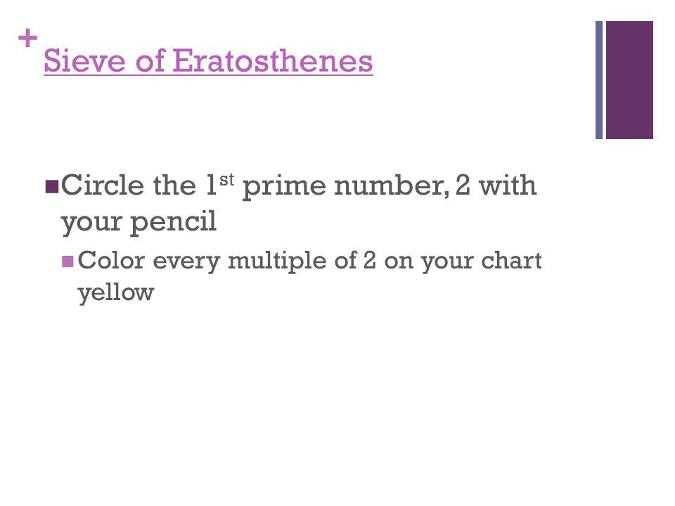 + Since 1 is not prime, color it purple