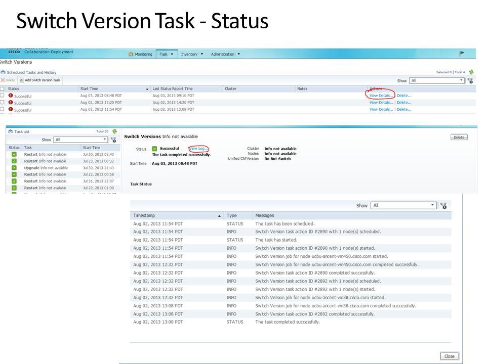Switch Version Task - Status