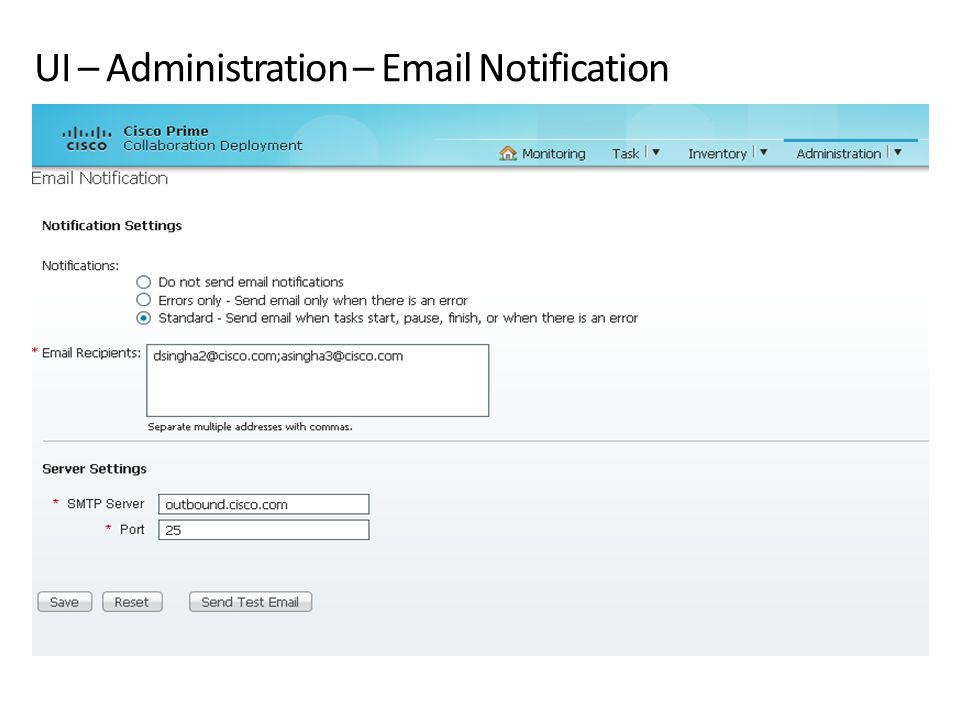 UI – Administration – Email Notification