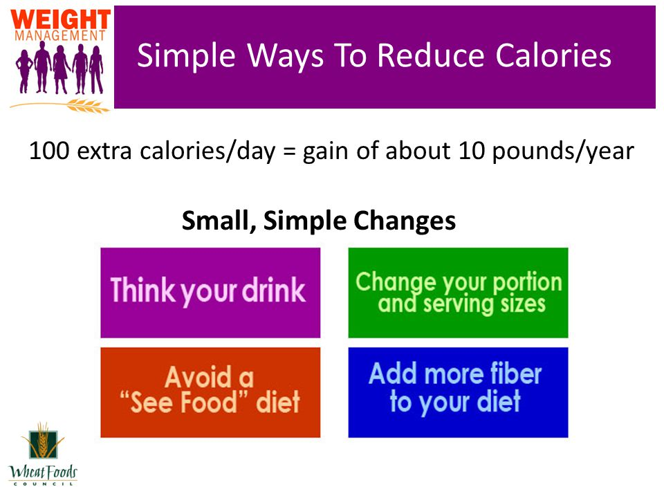 Simple Ways To Reduce Calories 100 extra calories/day = gain of about 10 pounds/year Small, Simple Changes