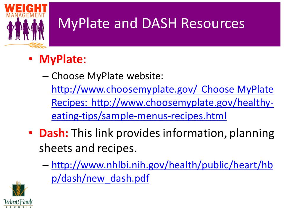MyPlate and DASH Resources MyPlate: – Choose MyPlate website: http://www.choosemyplate.gov/ Choose MyPlate Recipes: http://www.choosemyplate.gov/healthy- eating-tips/sample-menus-recipes.html http://www.choosemyplate.gov/ Choose MyPlate Recipes: http://www.choosemyplate.gov/healthy- eating-tips/sample-menus-recipes.html Dash: This link provides information, planning sheets and recipes.