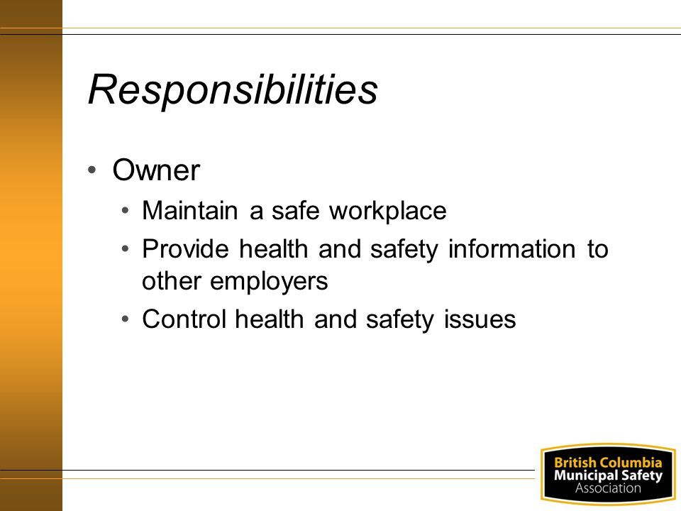 Responsibilities Owner Maintain a safe workplace Provide health and safety information to other employers Control health and safety issues
