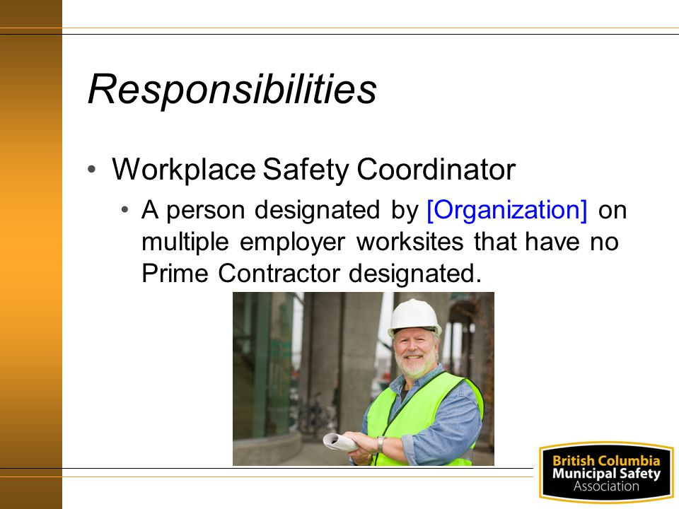 Responsibilities Workplace Safety Coordinator A person designated by [Organization] on multiple employer worksites that have no Prime Contractor designated.