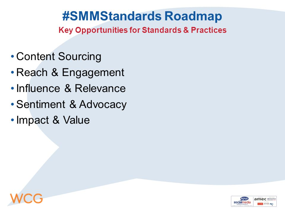 #SMMStandards Roadmap Content Sourcing Reach & Engagement Influence & Relevance Sentiment & Advocacy Impact & Value Key Opportunities for Standards & Practices
