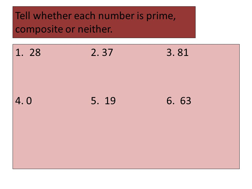Tell whether each number is prime, composite or neither. 1.282. 373. 81 4. 05. 196. 63