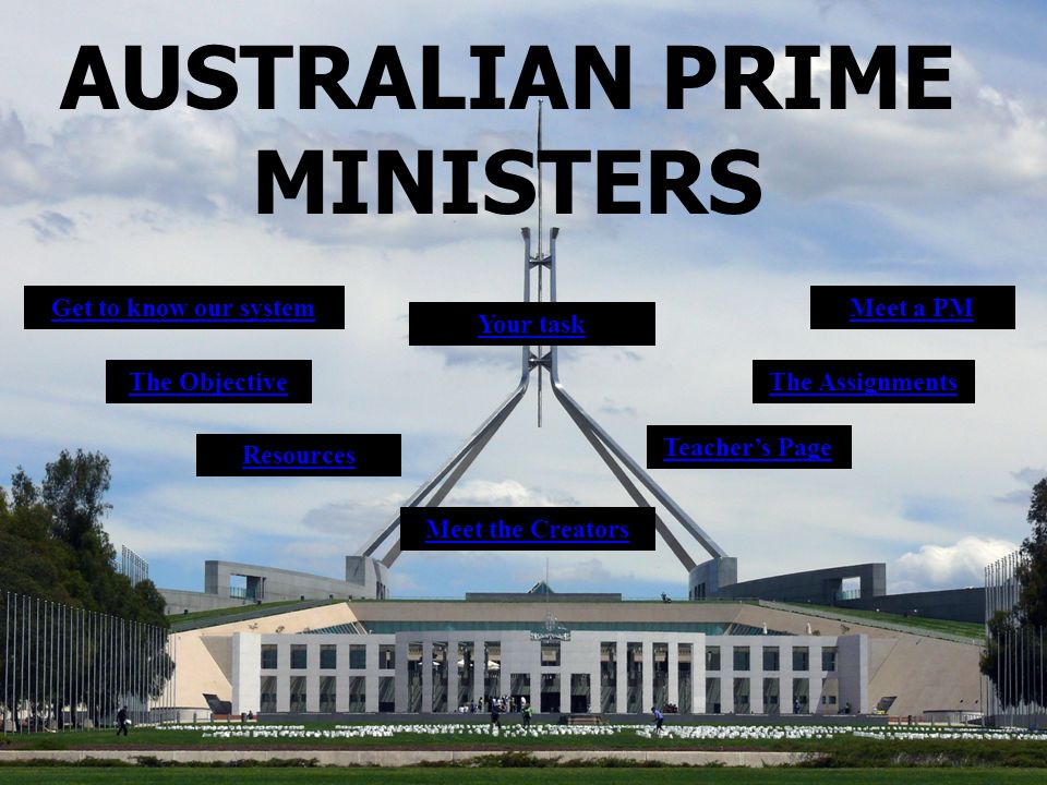 AUSTRALIAN PRIME MINISTERS Your task The Objective Resources Get to know our systemMeet a PM Teacher's Page Meet the Creators The Assignments