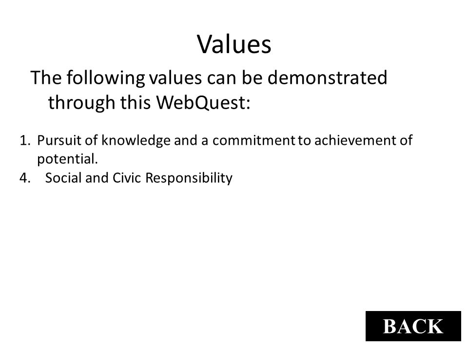 Values The following values can be demonstrated through this WebQuest: 1.Pursuit of knowledge and a commitment to achievement of potential. 4. Social