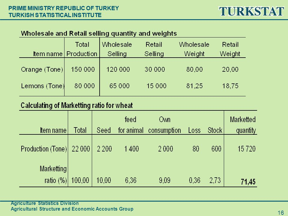 PRIME MINISTRY REPUBLIC OF TURKEY TURKISH STATISTICAL INSTITUTE Agriculture Statistics Division Agricultural Structure and Economic Accounts Group 16