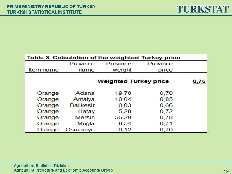 PRIME MINISTRY REPUBLIC OF TURKEY TURKISH STATISTICAL INSTITUTE 19 Agriculture Statistics Division Agricultural Structure and Economic Accounts Group