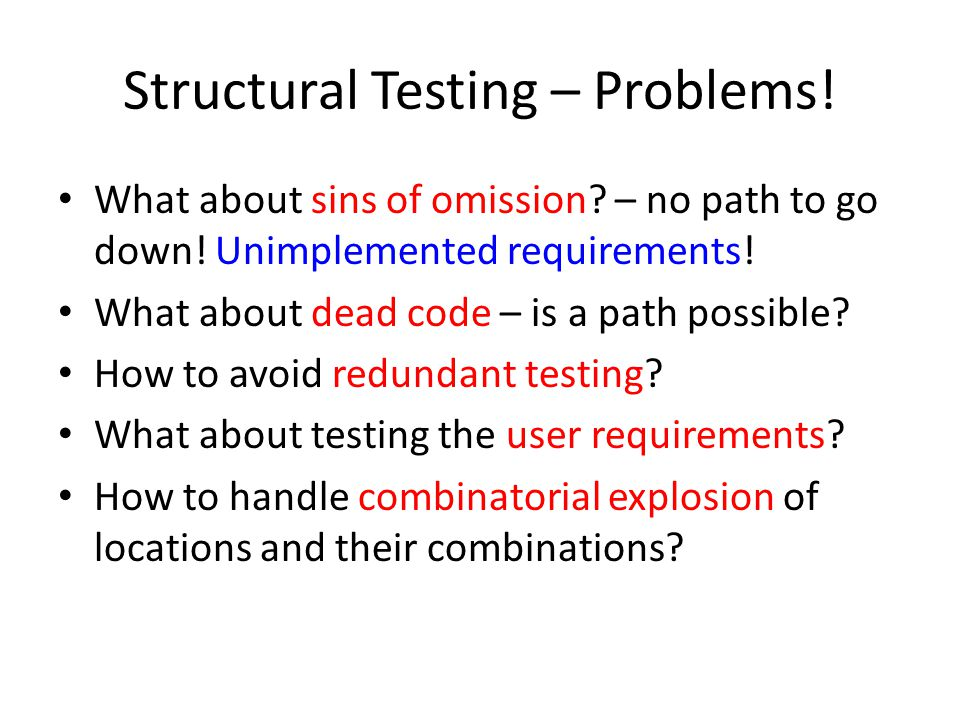 Structural Testing – Problems. What about sins of omission.