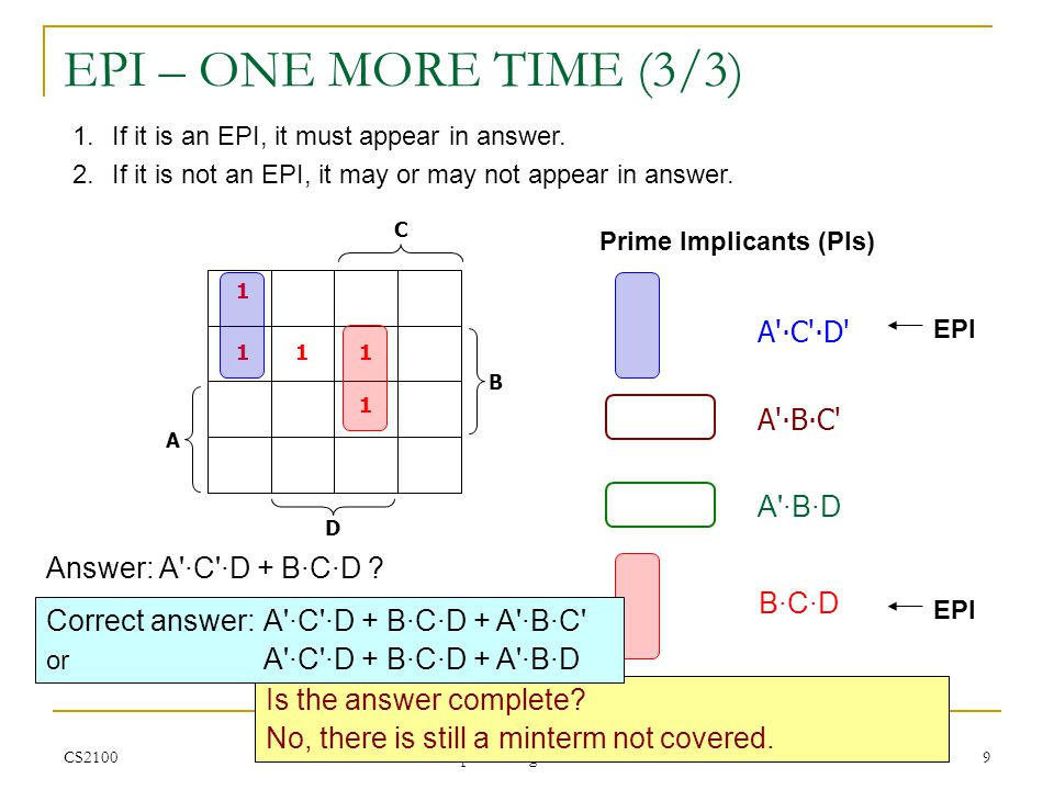 CS2100 K-maps: Finding PIs and EPIs 10 IVLE ASSESSMENT Q31 (1/4) What are the Prime Implicants (PIs).