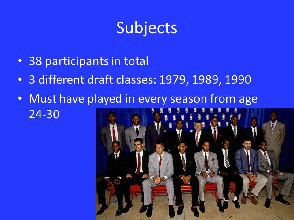 Subjects 38 participants in total 3 different draft classes: 1979, 1989, 1990 Must have played in every season from age 24-30