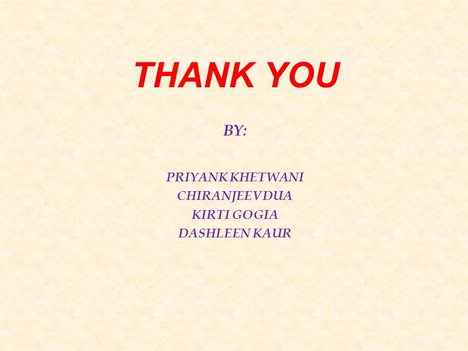 THANK YOU BY: PRIYANK KHETWANI CHIRANJEEV DUA KIRTI GOGIA DASHLEEN KAUR