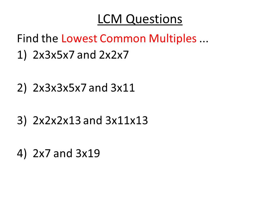 LCM Answers Find the Lowest Common Multiples...