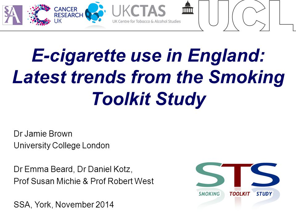 E-cigarette use in England: Latest trends from the Smoking Toolkit Study Dr Jamie Brown University College London Dr Emma Beard, Dr Daniel Kotz, Prof Susan Michie & Prof Robert West SSA, York, November 2014