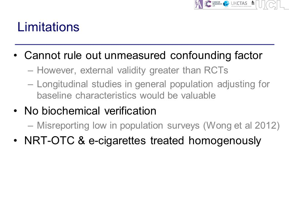 Limitations Cannot rule out unmeasured confounding factor –However, external validity greater than RCTs –Longitudinal studies in general population adjusting for baseline characteristics would be valuable No biochemical verification –Misreporting low in population surveys (Wong et al 2012) NRT-OTC & e-cigarettes treated homogenously
