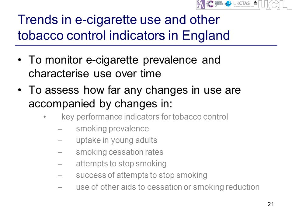 Trends in e-cigarette use and other tobacco control indicators in England To monitor e-cigarette prevalence and characterise use over time To assess how far any changes in use are accompanied by changes in: key performance indicators for tobacco control –smoking prevalence –uptake in young adults –smoking cessation rates –attempts to stop smoking –success of attempts to stop smoking –use of other aids to cessation or smoking reduction 21