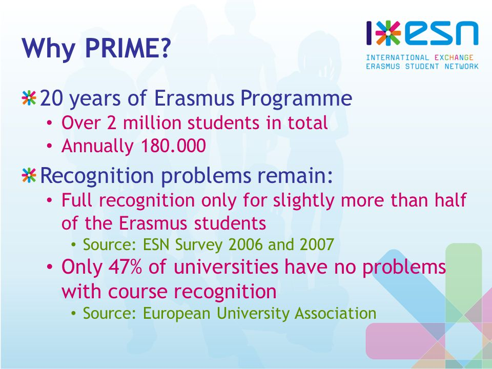 Why PRIME? 20 years of Erasmus Programme Over 2 million students in total Annually 180.000 Recognition problems remain: Full recognition only for slig